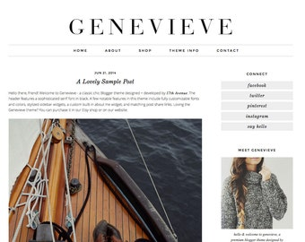 "Blogger Template Premade Blog Design - ""Genevieve"" Instant Digital Download, Black and Simple"
