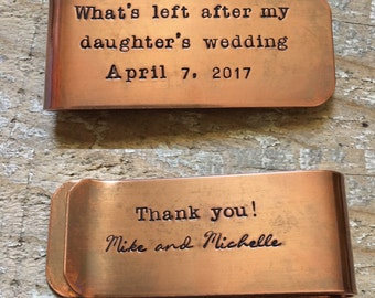 What's Left After My Daughter's Wedding Money Clip, Father of the Bride Gift, Wedding Gift to Dad From Daughter, Custom Copper Money Clip,