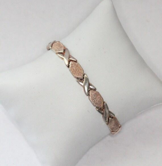 Milor Italy Sterling Bracelet Brushed Vermeil Finish X Links Gold Wash Finish Bracelet
