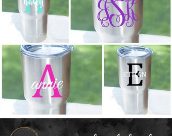 RTIC Decal - YETI Decal - Personalized Monogram Decal for 20oz or 30oz Yeti Rambler Cup, RTIC Tumbler, Stainless Steel Cup