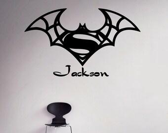 Batman Superman Wall Decal Custom Name Vinyl Sticker Superhero Personalized  Decals Home Decor Housewares Removable Decor