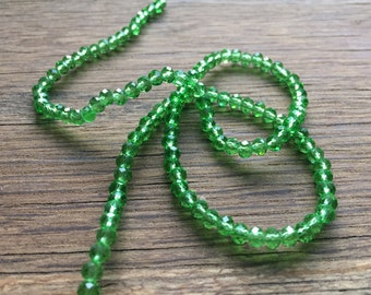 45 Pieces bicone green crystal beads 4mm. bead and jewelry making supplies