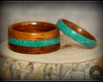 Bentwood Rings Set - Santos Rosewood Wooden Rings with Malachite Inlays using my bentwood steam process for very durable wood rings.
