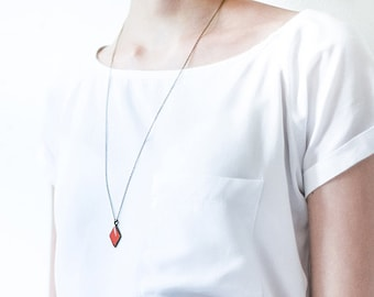 Red rhombus necklace, geometric jewelry, red small pendant, long chain necklace red pendant necklace