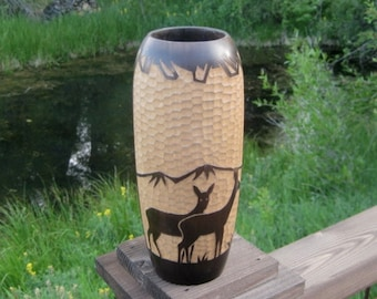 Art Deco Style Wood Vase, Carved Wood Vase with Deer, Made in Yugoslavia. Mid Century, Gift for Him