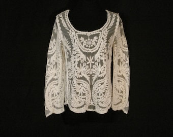 Boho Chic Hippie Ivory Lace Bell Sleeve Top Blouse SM