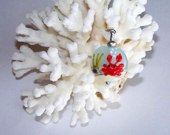 Crab on the beach glass pendant