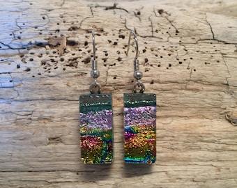 fused glass, dichroic glass earrings, handmade fused glass, glass earrings, glass jewelry, dangle earrings, dichroic glass jewelry, earrings