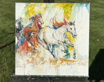 Running Horse // Original Art // Oil on Canvas // Painting on Canvas // // 20x20 in // Nature Art // Wall Art
