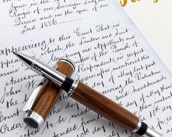 Almond - Wood Pen - Roller Ball - Ink - Pen - Hand Made - Chrome - Wooden pen - Birthday - Leaving - Graduation - Present - Special - 897