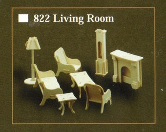 LIVING ROOM Model Furniture Kit in 12th Scale for Dolls House, Brand New