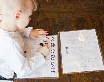 ABC Tracing Mats, Numbers Tracing Mats, Dry Erase Mats for Learning