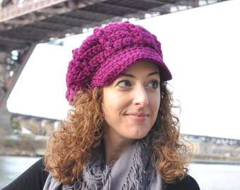 Wine Crocheted Newsboy Hat - Women's Accessories - Crochet Hat with Brim- Radiant Orchid
