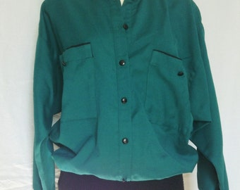 Top / blouse / tunic vintage emerald green and black, unmarked, T FR 40 / 42 USA 30 / 32, UK 12 / 14.