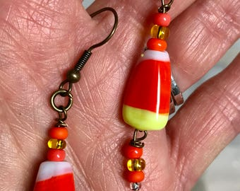 Halloween Candy Corn Lampwork Glass Dangle Earrings Doodaba