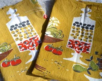 Vintage Linen Kitchen Towels - 2 Mid Century Kitchen Cooking in Yellow - Martex