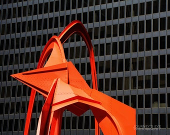 Chicago photography, modern art, red, abstract, architecture, urban, Illinois, Chicago picture - Flamingo