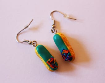 Earrings lightning turquoise glaze, food jewelry polymer clay