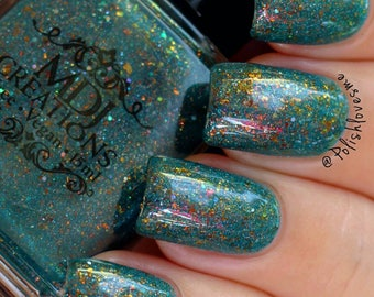New! Da Vinci ~ Multichromatic Amber Gold Bronze Flakie Turquoise Teal Crelly Indie Nail Polish by MDJ Creations