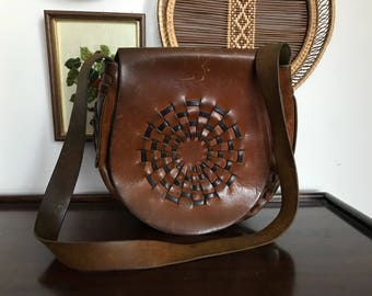 Bort Carlson Vintage Leather Hippie Purse with Woven Detail 1970s