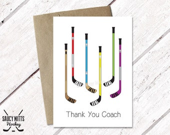 Thank You Hockey Coach Card - Hockey Sticks