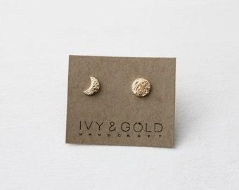 Moon Phase Earrings in 14k Yellow Gold. Fine Jewelry. Lunar Jewelry. Asymmetrical Earrings. Celestial. Moon Earrings. Mix and Match.