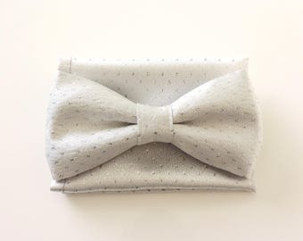 silver grey satin bow