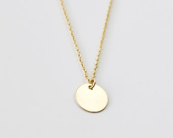 Open circle necklace gold circle pendant necklace small gold coin charm necklace small round disc pendant delicate gold necklace simple layering aloadofball Image collections