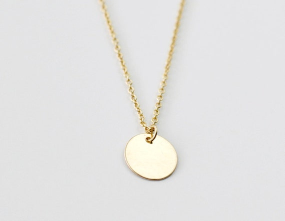 Gold coin charm necklace small round disc pendant delicate like this item aloadofball Gallery