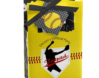 Grand Slam - Fastpitch Softball - Favor Boxes - Custom Birthday Party and Baby Shower Supplies - Sports Party Theme Favor Boxes - Set of 12