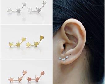 925 Sterling Silver Earrings, Triple Star Earrings, Gold Plated Earrings, Rose Gold Plated Earrings, Stud Earrings (Code : EC73)