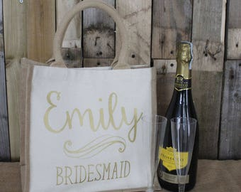 Personalised Bridal Party Jute Bag | Perfect Gift for Bride, Bridesmaid, Maid of Honour and Bridal Party