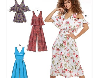 McCall's Pattern M7608 Misses' Fitted, Lined Sleeveless Romper and Jumpsuits