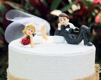 Long Distance Bride and Groom Cake Topper - Refurbished Vintage Telephone Bride and Groom Cake Topper