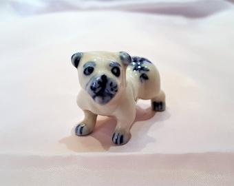 Miniature Pug Dog, Porcelain Pug Dog, Delft Blue Pug Dog, Flow Blue Pug Dog, Pug Dog Figurine, Collectible Pug Dog, Dog Lover Gift, Dog Gift