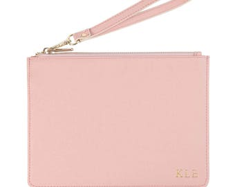 Personalized Pink Pouch with Wrist Strap