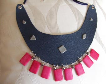 Blue jean leather bib necklace and pink wooden beads