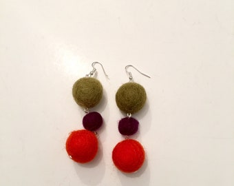 felt ball chain earrings