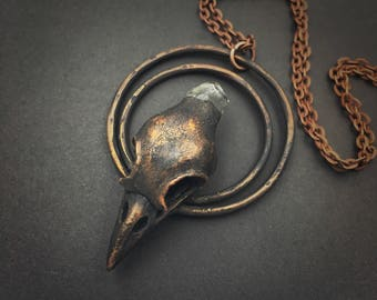Raven Skull Necklace | Electroformed | Crow Skull Necklace | Bird Skull