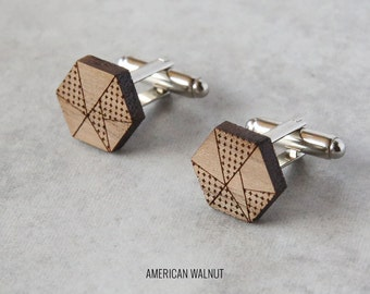 Geometric cufflinks   Wood Cufflinks   5th anniversary gift   Groomsmen Gift   Gifts for Him   Graduation Gift   Groom Gift   Gifts for Dad