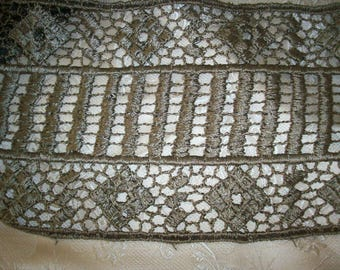 Unusual design silky charcoal lace rayon 1930s