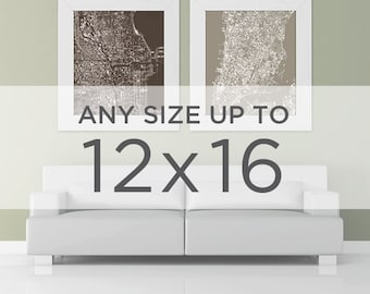 "12x16"" Cityscape Wall Art: Choose your City"