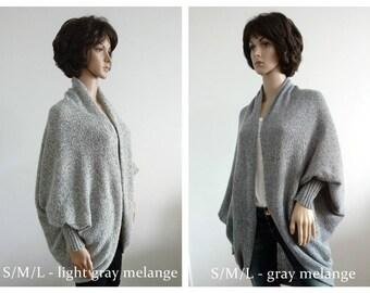 Wool cardigan women Batwing Cardigan gray grey white Jacket  Coat cardigan Handmade  Knit loose clothes wrap Boho Cocoon coat jacket