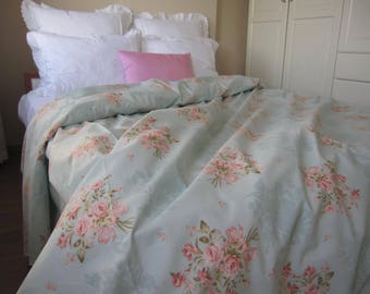 Vintage Floral Duvet Cover Mint Green Pale Blue Pink Posy Roses Pastel Queen King