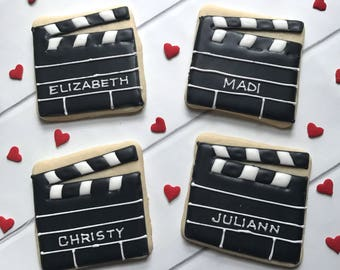 Film Cookies | Movie Cookies | Movie Night Cookies | Hollywood Party | One Dozen
