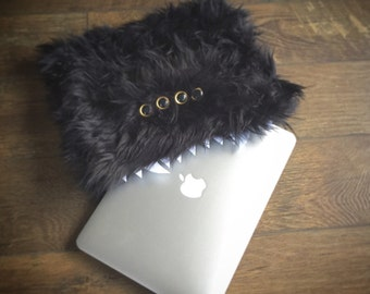 Furry Black Monster Laptop Sleeve
