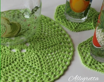 kitchen set consist in a crochet flower doily with six coasters for the inauguration of a new home for holidays in the mountains or the sea