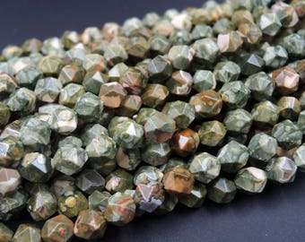 "Natural Rainforest Rhyolite Jasper Faceted Nugget Star Cut Geometric Beads Large Facets 8mm Faceted Beads 16"" Strand"