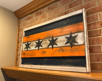 Elegant Chicago Flag Wall Art Sign Chicago Bears (16.5 X 27.5) Rustic 3D Wood,