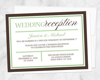 Green Brown Reception Only Invitations - Modern design - Post-Wedding Reception, Green Reception Invites - Printed Invitations